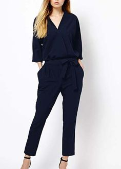 Elegant Navy Blue V Neck Jumpsuit
