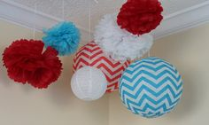 7 pieces Turquoise Blue & Red  CheVron  by PomPomDelightNmore, $31.57