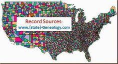 State Genealogy Website Map ~ This is a great place to see where you can locate records for each state. And you can check by county or by the type of record.
