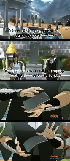 Haha. Legend of Korra and The Last Airbender. Avatar nation, who's ready for book 4?! iphone bending http://m.imgur.com/gallery/QpYAWoj
