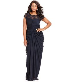 Adrianna Papell Plus Size Dress, Short-Sleeve Illusion Lace Pleat Gown - Black Magic - Plus Sizes - Macy's