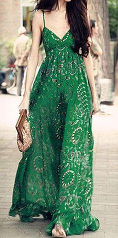 Green Printed Maxi Dress