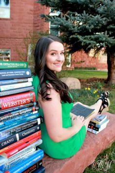 Graduation Photos - Great idea to use textbooks as props. Credit to https://www.facebook.com/CarynMasseyPhotography Photoshoot at Northern Arizona University #graduationphotos #NAU