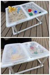 DIY Sand&Water Table--PVC, so no screws and it's take-apart-able!