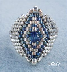 Silver blue ring-Beading Tutorials and Patterns by Seed Bead Jewelry, Wire Jewelry, Beaded Jewelry, Jewelry Rings, Tutorial Anillo, Ring Tutorial, Jewelry Making Tutorials, Beading Tutorials, Jewelry Patterns
