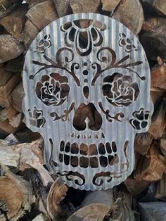 Sugar Skull. I need this in my life! Back lot mounted in front of wood!