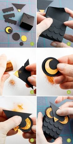 diy owl bag. cute idea for candies/cookies around halloween