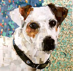 "Jack Russell Terrier. 24 x 24"" Collage on Canvas. Custom Art Pet Portrait. mydogcollage.com 2016"