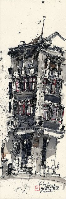 The Scarlet Hotel, An Siang Road, Singapore by Ch'ng Kiah Kiean. Kiah Kiean is… Landscape Drawings, Architecture Drawings, Building Illustration, Illustration Art, Urban Sketchers, Architectural Features, Environment Design, Gravure, Art Sketchbook