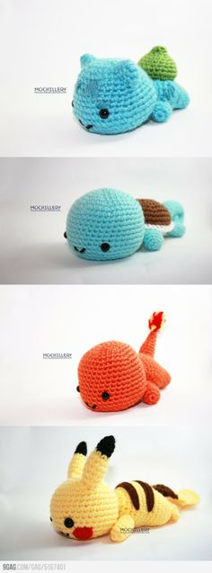 Bulbasaur, Squirtle, Charmander and Pikachu (I know it's crochet and not knit)