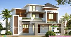 1852 square feet modern style beautiful 4 BHK house plan by Line Construction & Interiors, Thrissur, Kerala. Duplex House Plans, Bungalow House Design, House Front Design, Modern House Floor Plans, Contemporary House Plans, Beautiful Modern Homes, Beautiful Gorgeous, House Design Pictures, Modern Villa Design