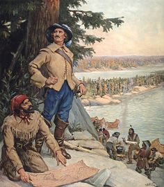 Out of Quebec, Fur trade explorer La Vérendrye at Lake of the Woods, [now northern Ontario] by Arthur H. Hider.  Fur-trading tradition and the birth of the Métis Nation.
