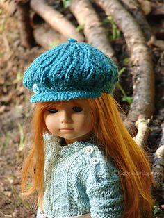 "Free knitting pattern for a lace newsboy cap for 18"" dolls"