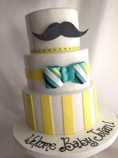 mustache bow tie cake