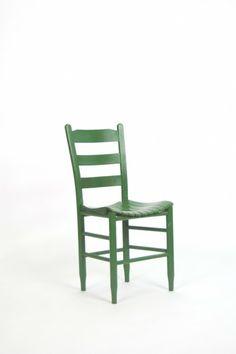 Green Wooden Ladder Back Chair