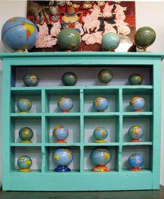 Little globe collection from Barbara Johansen Newman World Globe Map, Globe Art, Globe Decor, World Globes, Map Globe, Vintage Globe, Vintage Maps, Antique Maps, We Are The World