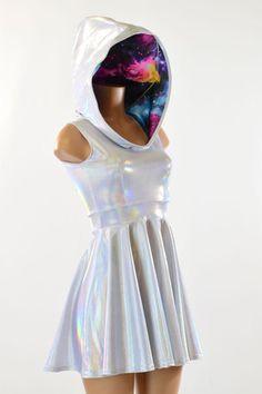 Flashbulb & Galaxy Hoodie Skater Dress