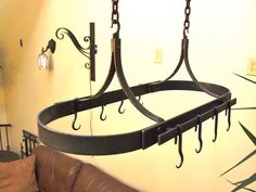 Hanging Iron Pot Rack With 10 Hooks Hand by ArtisansoftheAnvil