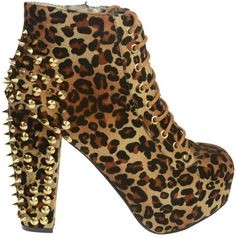 7A New Womens Leopard Studded Spike Chunky Heel Ladies Ankle Boots... ❤ liked on Polyvore