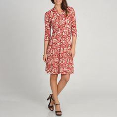 Marina Women's Red Brick Printed Quarter Sleeve Wrap Dress  $84 overstock