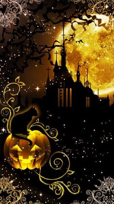 Can't wait till Halloween also saved by Celtic Dragon. Retro Halloween, Halloween Bonito, Halloween Kunst, Halloween Artwork, Halloween Scene, Halloween Painting, Halloween Pictures, Halloween Wallpaper, Halloween Cards