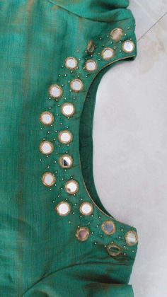Mirror work on mehendi night  sari blouse