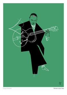 Portrait in Jazz on Behance Music Artwork, Art Music, Musik Illustration, Jazz Painting, Django Reinhardt, Jazz Poster, Jazz Art, Film D'animation, Music Images