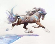 Watercolor Painting, Watercolor Horse Art, Watercolor Pen and Ink Painting, Blue And Brown Decor, Art gift for her, Horselovers Art