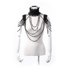 RQ-BL extravagant gothic lace collar necklace