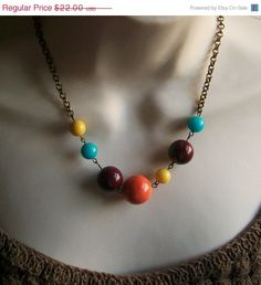 Holiday SALE Colorful Beaded Necklace by lakeshorecreations4u, $18.70