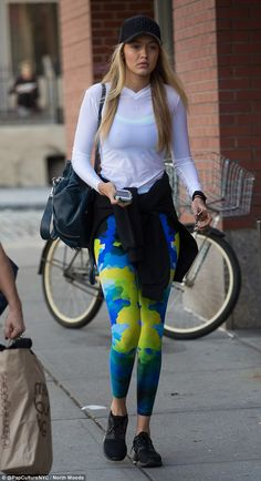 The future is bright: Rising star Gigi Hadid donned multicoloured patterned leggings for h...