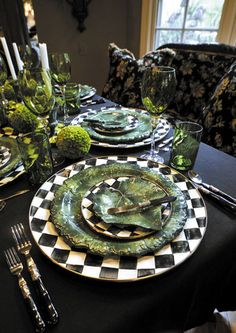 Birdie loved her McKensie Childs inspired kitchen Mckenzie And Childs, Beautiful Table Settings, Deco Table, Place Settings, Dinner Table, Tablescapes, Fall Decor, Kitchen Decor, Table Decorations