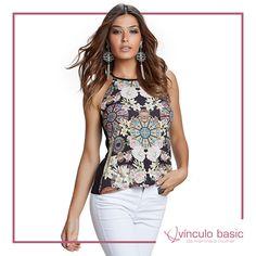 Essa blusa MUSA tem tudo para você arrasar: cava americana e estampa mara! ❤  http://www.vinculobasic.com.br/ #vinculobasic #primavera #verao