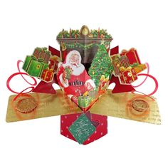 Santa & Toys Pop-Up Christmas Greeting Card Pop Up Greeting Cards, Pop Up Cards, Christmas Greeting Cards, Christmas Greetings, Christmas Gifts, Love Rose Flower, Birthday Cake Greetings, 3d Cards, Craft Cards