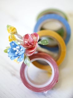"""Washi tape flowers, created by Cathe Holder, a Petaluma crafter who blogs at """"Just Something I Made."""""""