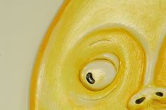 Close up showing the texturing in the paintwork for theScream Mirror by Marvellous Mirrors.