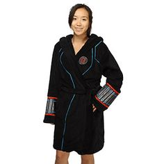 Soft black polyester fleece bathrobe features embroidery and shiny satin detail from Black Widow's Age of Ultron suit design, including the distinctive light-blue piping. For superspies in their downtime.