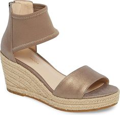 Pelle Moda Women's Shoes in Platinum Metallic Color. A stretchy mesh cuff and a soft nubuck toe strap finesse a low platform wedge wrapped in layers of braided jute. #PelleModa #platinum #shoes #fashion #style