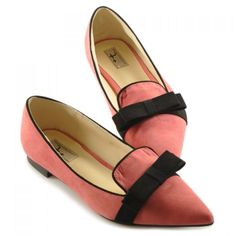 ❤ coral suede flats