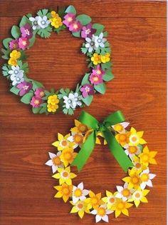 Album Archive - p Paper Flower Wreaths, Giant Paper Flowers, Easter Wreaths, Paper Roses, Flower Crafts, Diy Flowers, Summer Crafts, Diy And Crafts, Crafts For Kids