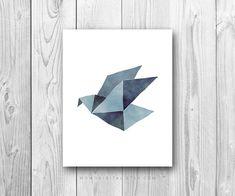 SALE Origami Bird Paper Crane Watercolor Bird par MomoDigital