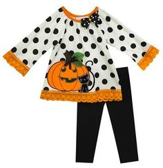 7d6e2d7145dd Rare Editions White Dot Black Knit Pumpkin Fall Legging Set 24 months --  Click image
