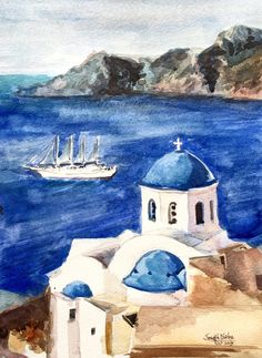 Santorini Watercolor Painting  Original Greece by TheJoeyStudio