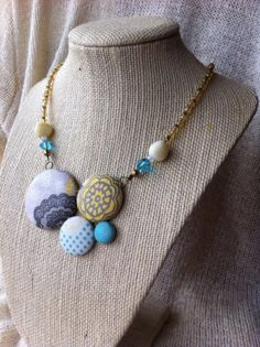 OOAK Vintage Inspired Fabric Button Necklace by ButtonsAFluttur, $40.00