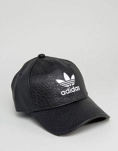 f0cf66572219a adidas Originals Crackled Leather Logo Cap