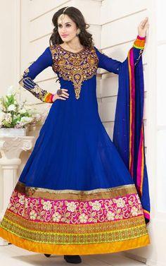 $111.11 Blue Embroidered Faux Georgette Floor Length Anarkali Salwar Suit 26290