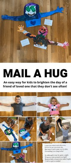 Mail A Hug: An Easy Way To Brighten Someone's Day 3 Craft Activities For Kids, Projects For Kids, Preschool Activities, Diy For Kids, Summer Activities, Kids Fun, Indoor Kid Activities, Art Games For Kids, Fun Activities For Preschoolers