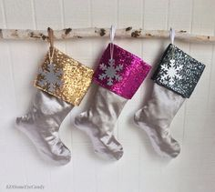 Set of 3 Family Christmas Stockings Metallic by KDHomeEyeCandy