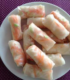 Rouleaux de printemps aux crevettes, carotte et oignons nouveaux