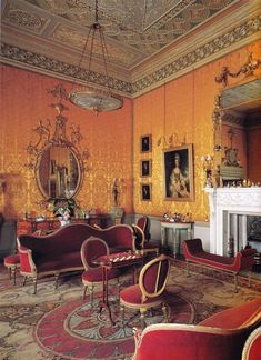 "Yellow Drawing Room, Harewood House neer Leeds, West Yorkshire 1759 Image from ""The Genius of Robert Adam"" designed by architects John Carr & Robert Adam for Edwin Lascelles, Baron Harewood, It is still home to the Lascelles. English Manor Houses, English Castles, English House, West Yorkshire, Yorkshire England, Traditional Interior, Classic Interior, Beautiful Interiors, Nooks"